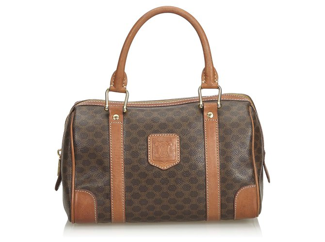 Céline Celine Brown Macadam Boston Bag Handbags Leather,Other,Plastic Brown ref.126514