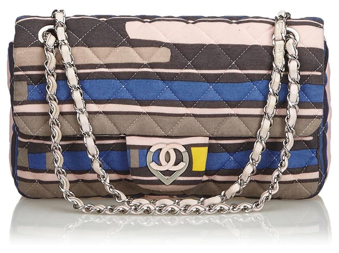 Chanel Chanel Pink CC Heart Printed Cotton Medium Flap Bag Handbags Leather,Other,Cotton,Cloth Pink,Multiple colors ref.126533