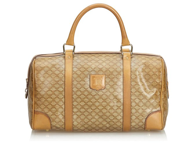 Céline Celine Brown Macadam Boston Bag Handbags Leather,Other,Plastic Brown,Beige ref.126535