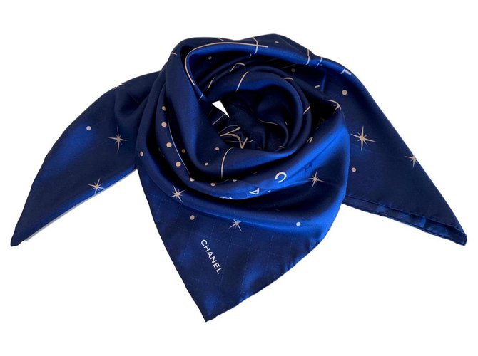 Chanel SILK SCARF CHANEL Scarves Silk Navy blue ref.126598