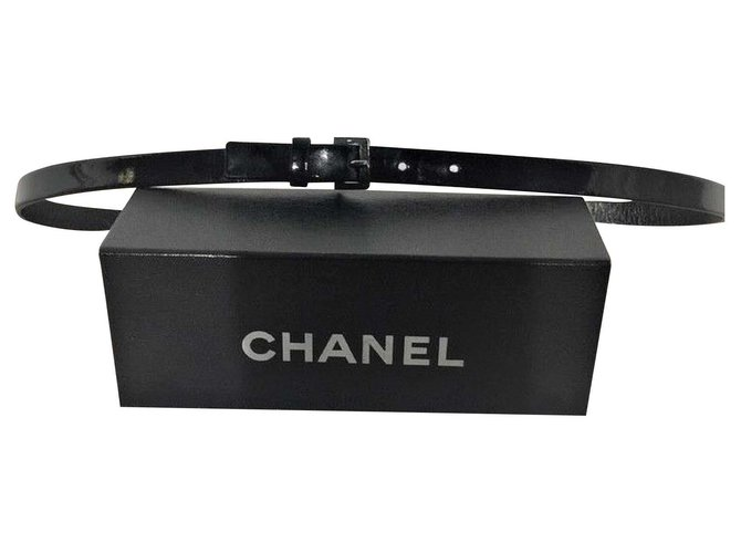 Chanel CHANEL Belt, Black patent leather Belts Patent leather Black ref.126623