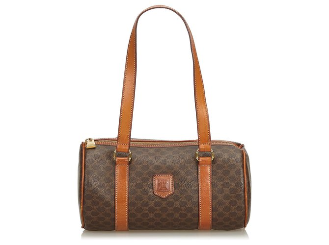 Céline Celine Brown Macadam Shoulder Bag Handbags Leather,Other,Plastic Brown ref.126697