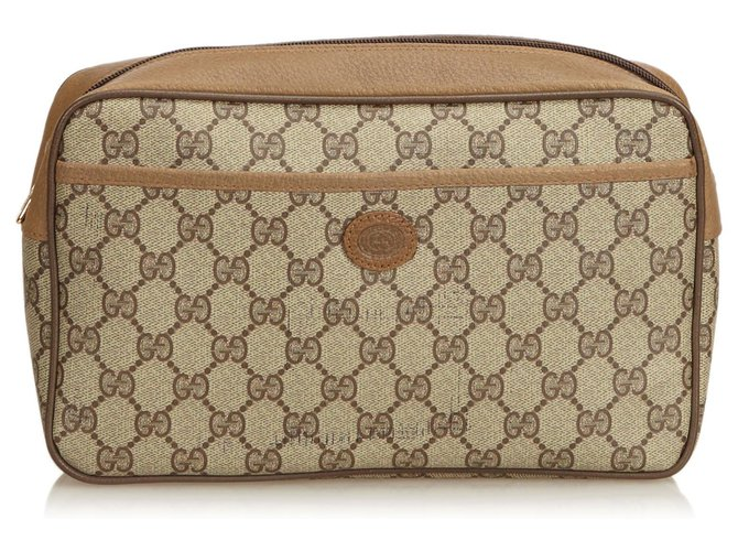 Pochettes Gucci Gucci Brown Guccissima Pochette En Toile Cuir,Autre,Plastique Marron,Beige ref.126703