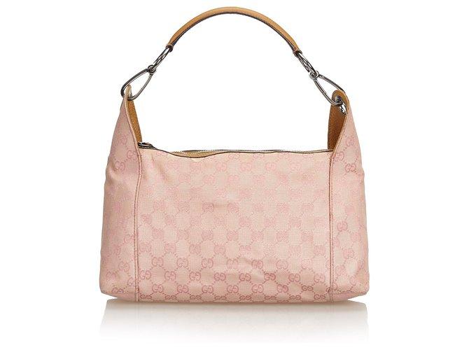 02cb02a54 Gucci Gucci Pink GG Jacquard Handbag Handbags Leather,Other,Cloth Brown,Pink  ref