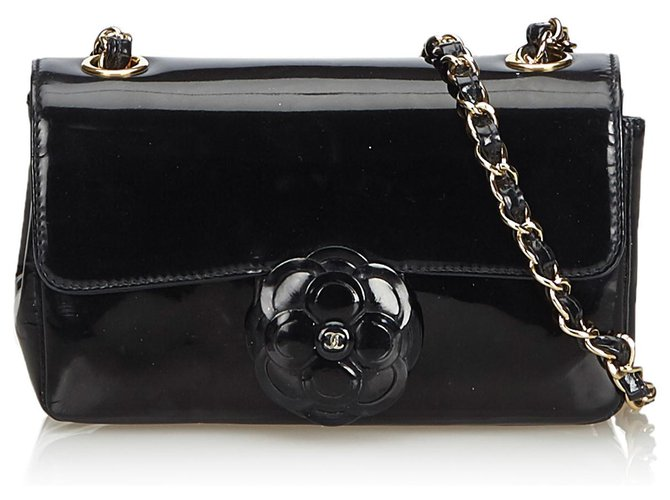 Chanel Chanel Black Camellia Patent Leather Crossbody. Bag Handbags Leather,Patent leather Black ref.126710