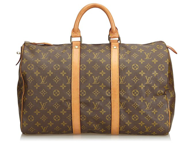 Sacs de voyage Louis Vuitton Louis Vuitton Keepall Monogram Brown 45 Cuir,Toile Marron ref.126713