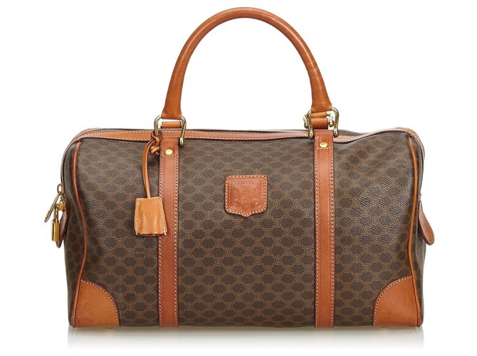 Céline Celine Brown Macadam Boston Bag Handbags Leather,Other,Plastic Brown ref.126714
