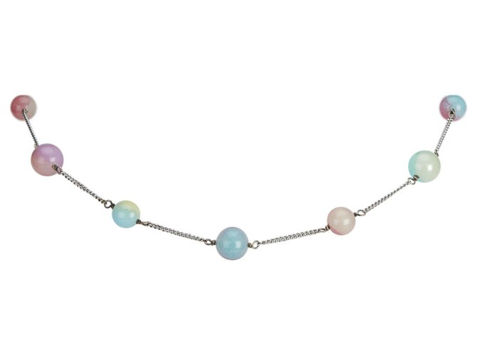 Chanel Chanel Silver Beaded Necklace Necklaces Other,Metal,Plastic Silvery,Multiple colors ref.126731