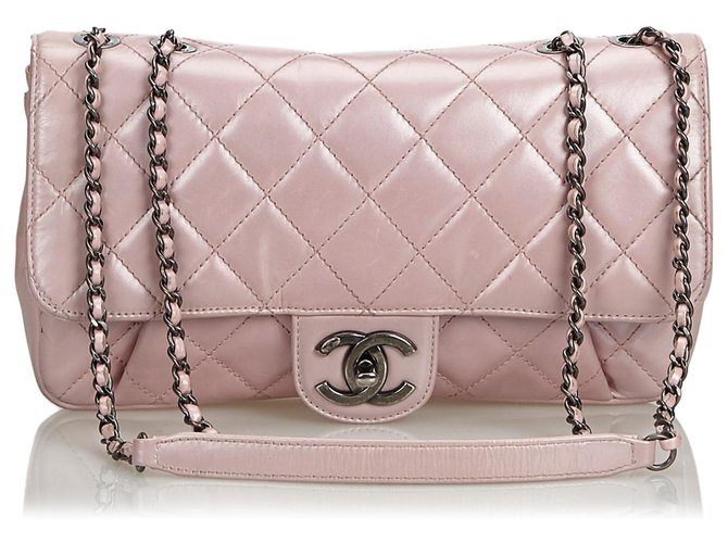 Chanel Chanel Pink Quilted calf leather Pleated Chain Flap Bag Handbags Leather,Pony-style calfskin Pink ref.126733