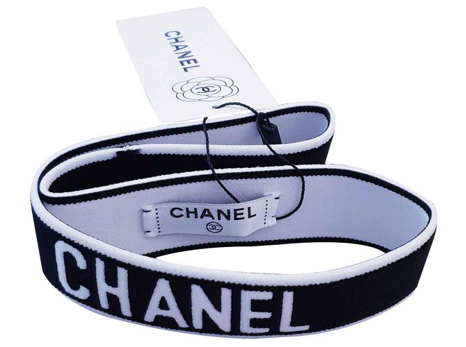 Chanel Chanel hair band Hair accessories Elastane Black,White ref.126734