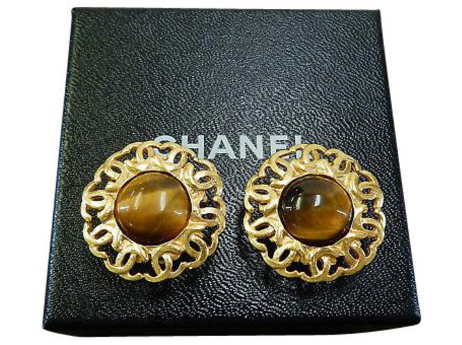 Chanel Chanel Clip-on Vintage CC Earrings Yellow gold Golden ref.126778