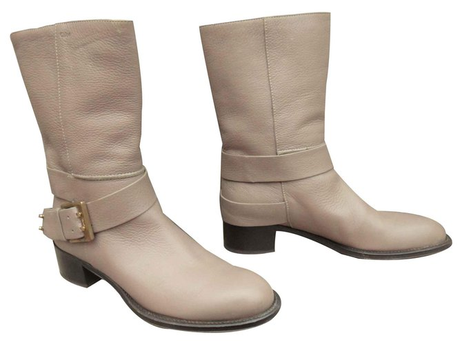 Chloé Chloé buckle boots in mint condition, just tried Ankle Boots Leather Beige ref.126857