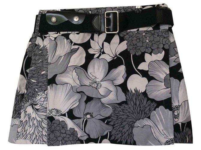Burberry Burberry kilt Skirts Cotton,Denim Black,White,Grey ref.126879