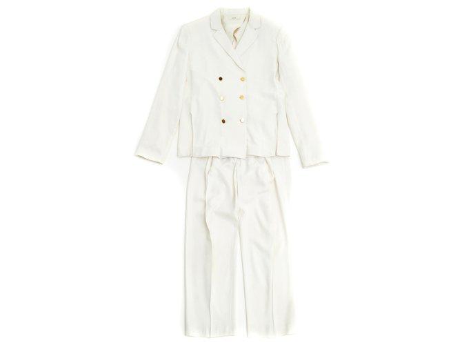 Céline ALL WHITE FR36/38 Jackets Viscose,Acetate Cream ref.126949