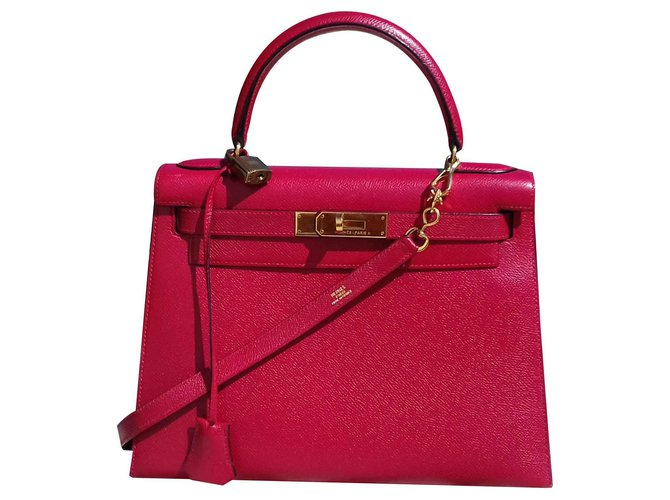 Hermès Kelly Sellier Hermes Red Gold Hdw Handbag Handbags Leather Red ref.126975