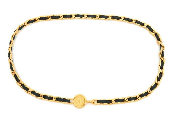 Chanel CLASSIC BLACK GOLD T75/80 Belts Leather,Metal Black,Golden ref.126978