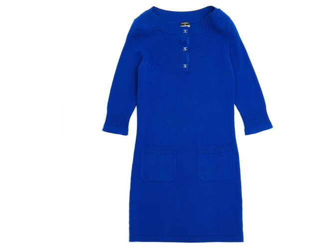 Chanel ROYAL BLUE CASHMERE FR38 Dresses Cashmere Blue ref.127002