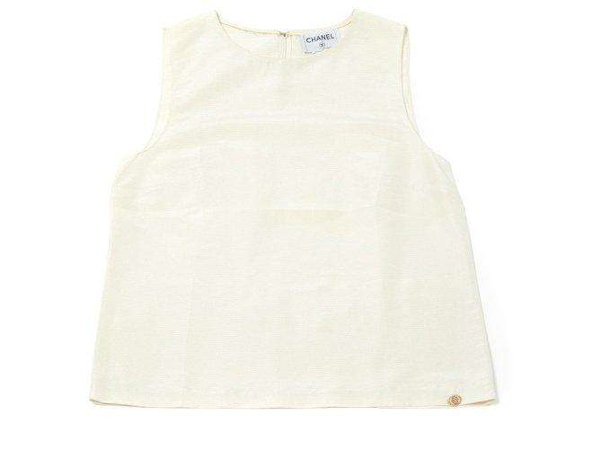Chanel OFF WHITE GOLD FR38/40 Tops Silk Golden,Cream ref.127018