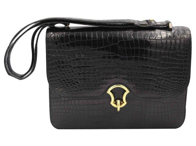 Hermès Handbags Handbags Exotic leather Black ref.127091