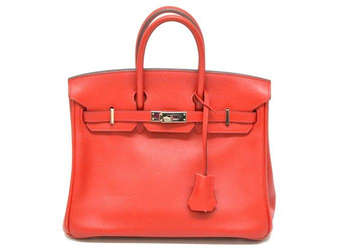Sacs à main Hermès HERMES BIRKIN 25 Cuir Rouge ref.127125