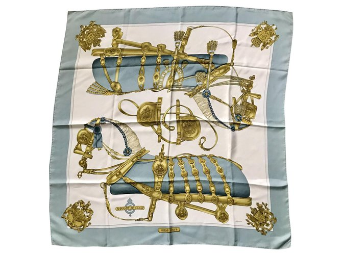Hermès Court Harness Silk scarves Silk Light blue ref.127177