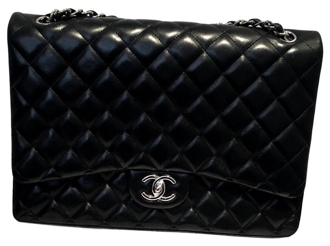 Sacs à main Chanel Jumbo Timeless Cuir d'agneau Noir,Bordeaux ref.127204