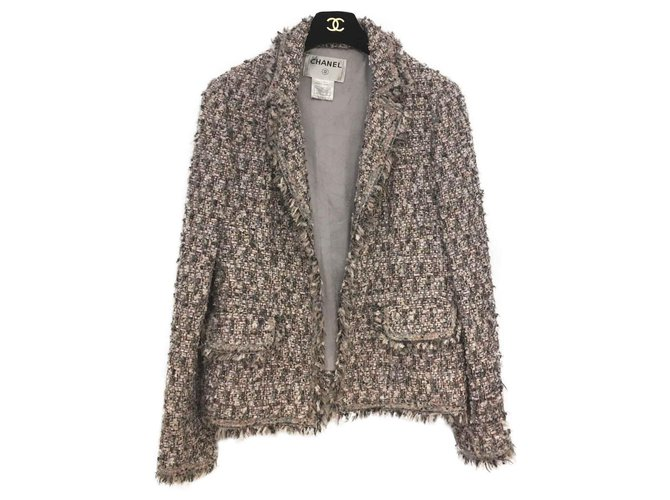 Chanel Jackets Jackets Tweed Pink,White,Grey ref.127326