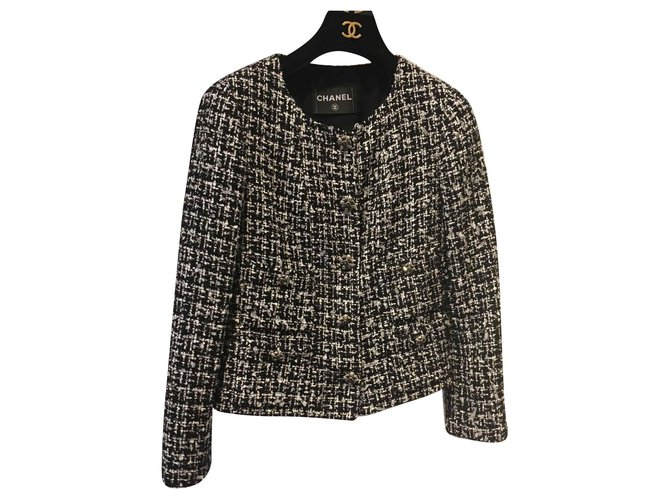 Chanel Jackets Jackets Tweed Black,White ref.127329