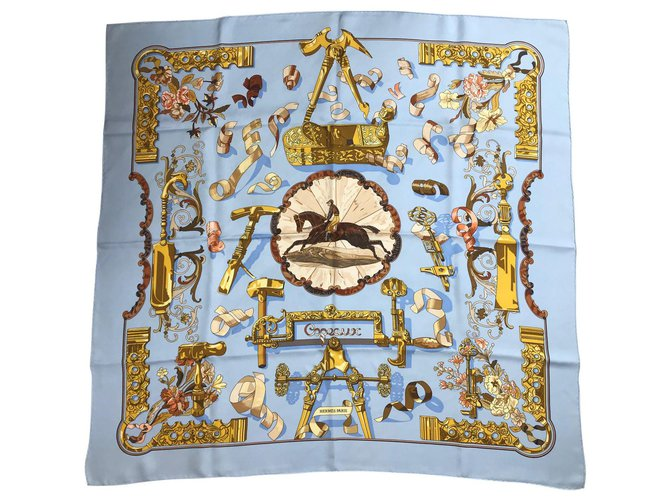 Hermès Shavings Silk scarves Silk Light blue ref.127382