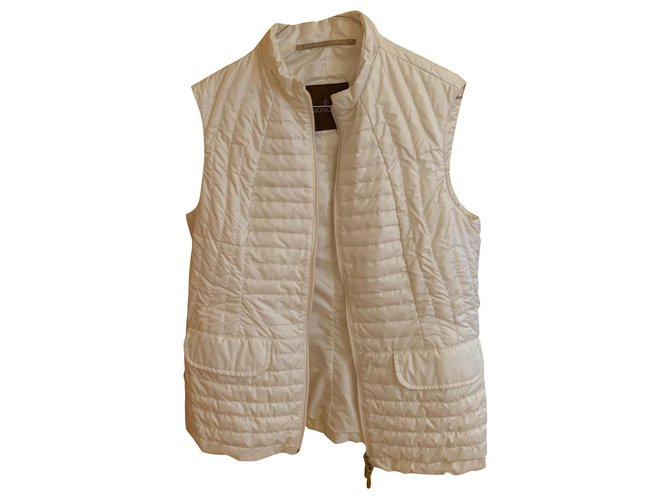 Moncler Sleeveless down jacket Jackets Synthetic Eggshell ref.127395