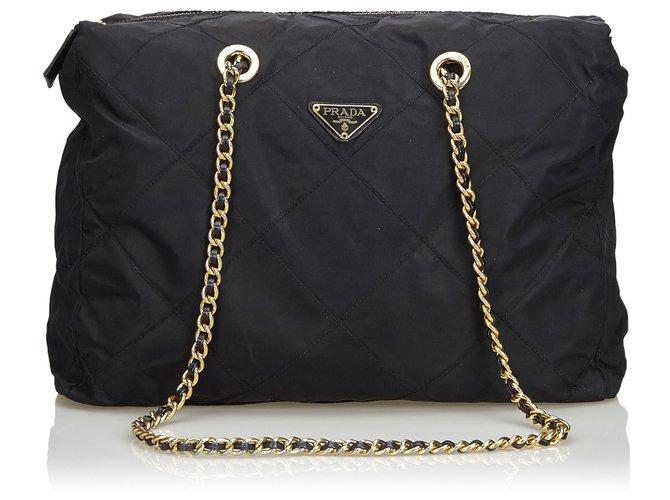 12f3492c5403 Prada Prada Black Quilted Nylon Chain Shoulder Bag Handbags Nylon,Cloth  Black ref.127453