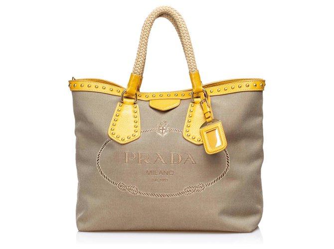 9705b3ca4d7f Prada Prada Brown Canapa Jacquard Tote Bag Totes Leather,Other,Cloth  Brown,Beige