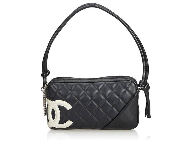 4d07fa3d7cdde3 Chanel Chanel Black Cambon Ligne Pochette Handbags Leather Black,White  ref.127778