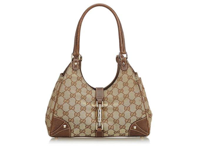 bc3075a5502d Gucci Gucci Brown GG Jacquard Nailhead Jackie Shoulder Bag Handbags  Leather,Other,Cloth Brown