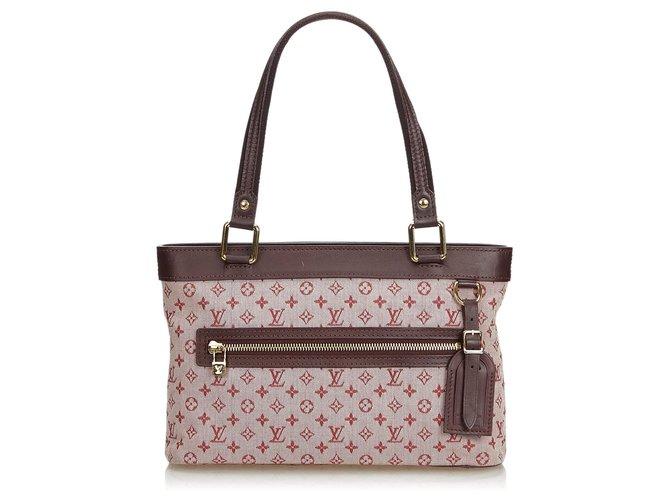 Sacs à main Louis Vuitton Louis Vuitton Mini Lin Lin Lucille PM Rose Cuir,Autre,Coton,Tissu Marron,Rose ref.127841