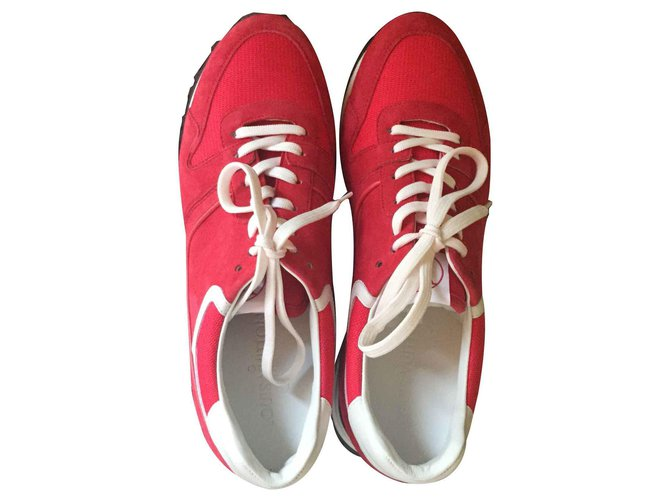 Baskets Louis Vuitton Sneaker Cuir Rouge ref.127890