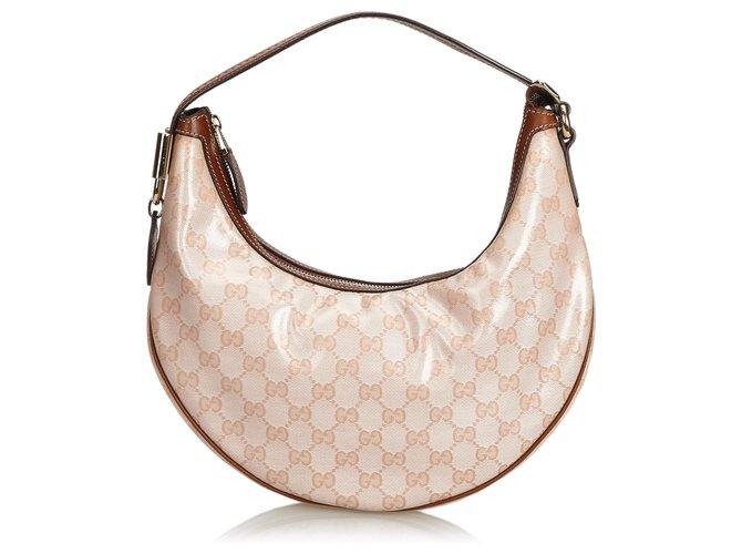 cdd5c62a3 Gucci Gucci Pink GG Supreme Hobo Bag Handbags Leather,Other,Cloth,Cloth  Brown
