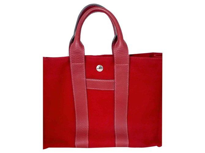 Hermès toto Handbags Leather,Cotton Dark red ref.128075