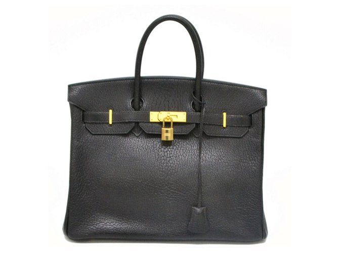 Hermès HERMES BIRKIN 35 Handbags Leather Black ref.128115