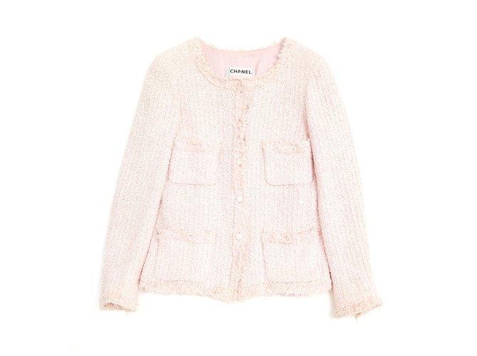 Chanel PINK PASTEL FR38 Jackets Cotton,Polyamide Pink ref.128284