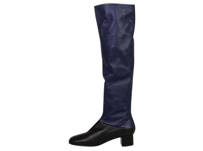 Céline stivale bicolore Ankle Boots Leather Blue ref.128344