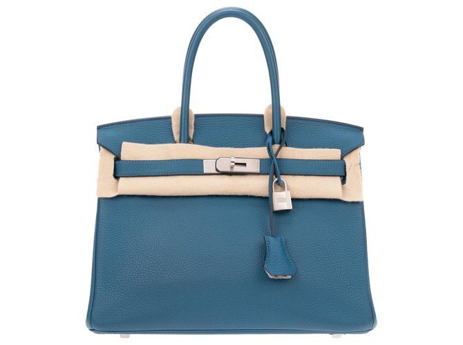 Hermès Sublime Hermès Birkin Handbag 30, special order, bi-colored leather togo Blue mallard / Pearl gray in very good condition! Handbags Leather Blue,Grey ref.128363