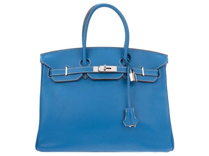 Sacs à main Hermès Superbe et Rare Sac à main Hermès Birkin 35 éclat bicolore bleu Mykonos (extérieur) & blanc (intérieur, dos des sanglons et dessous), accastillage palladié, en très bon état! Cuir Blanc,Bleu ref.128367