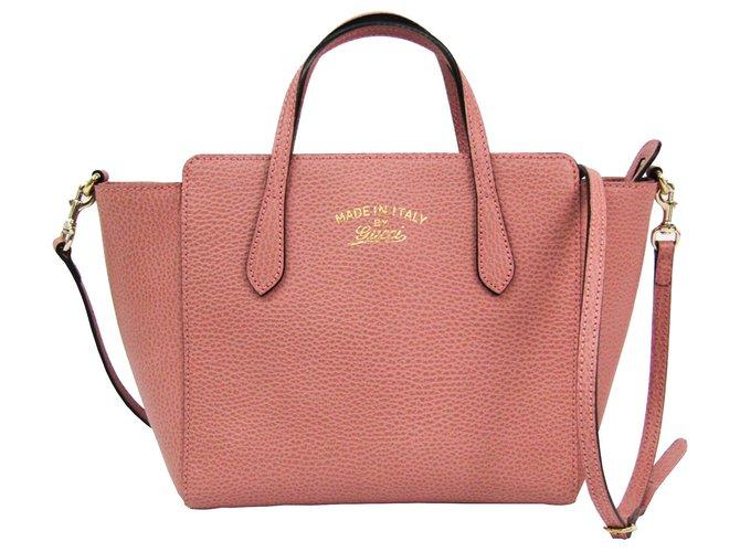 Sacs à main Gucci Gucci Sac à bandoulière en cuir rose Cuir,Veau façon poulain Rose ref.128419