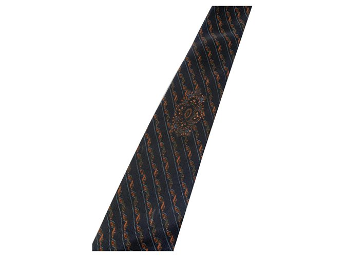 Yves Saint Laurent Ties Ties Silk Navy blue ref.128482
