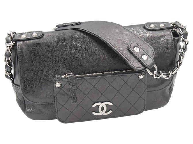 Sacs à main Chanel Porté épaule Cuir Noir ref.128656