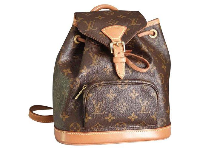 376ecd77acc9b Louis Vuitton Rucksack Montsouris mini Handtaschen Leder Braun ref.128671