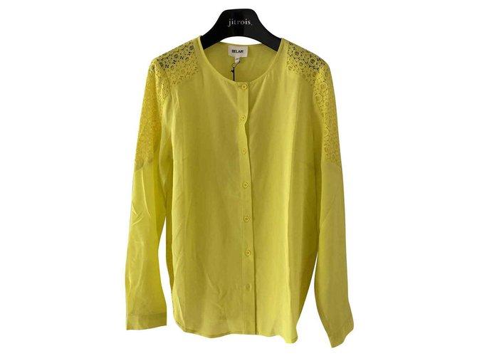 Tops Bel Air Chemise en soie jaune Soie Jaune ref.128675