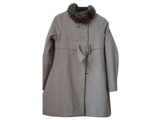 Kenzo Girl Coats outerwear Girl Coats outerwear Cotton,Wool Beige ref.128799
