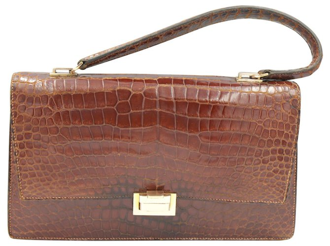 Hermès Handbags Handbags Exotic leather Brown ref.129001